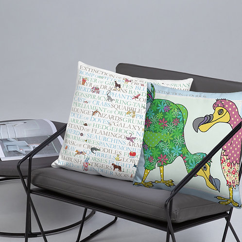 Animal Collective Nouns | Extinction of Dodos | Throw Cushion | 18""