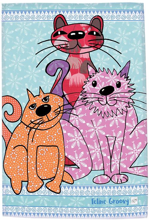 Three cat design with slogan 'feline groovy' printed kitchen towel