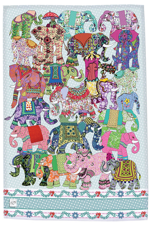 Elephant teatowel, indian elephants, colourful printed kitchen towel