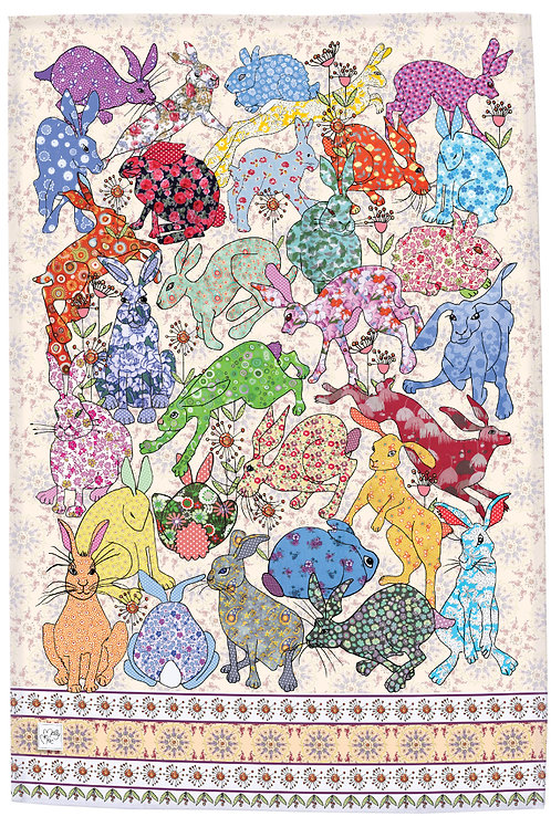 hare tea towel. Printed kitchen towel with collection of hares rabbits