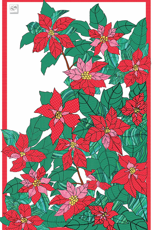 Merry & Bright Poinsettia  | Tea towel
