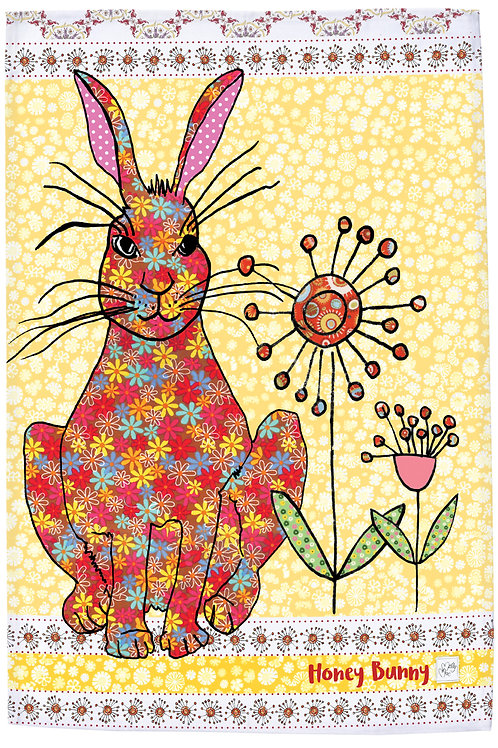 hare tea towel with slogan 'Honey Bunny' rabbit kitchen towel