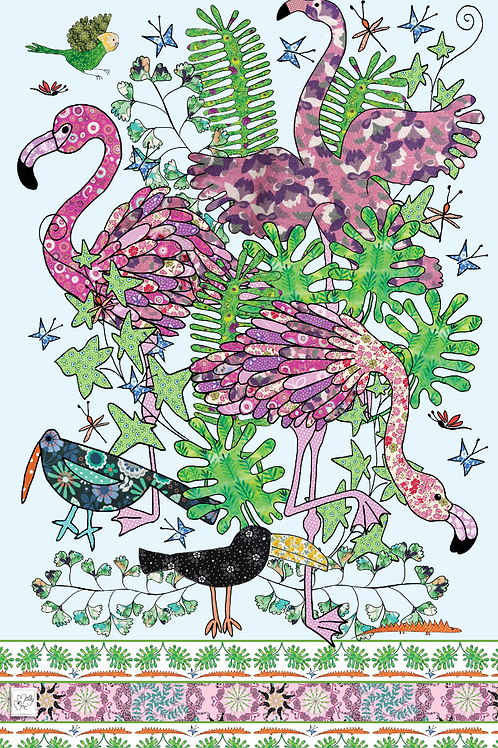 Flamingos design by MollyMac, pink and green cotton printed kitchen towel