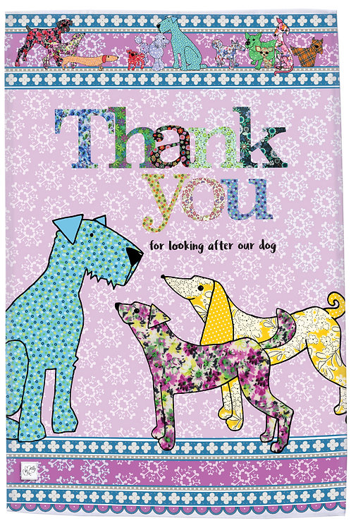 Thank you for looking after our dog tea towel, printed pink, turquoise and yellow tea towel