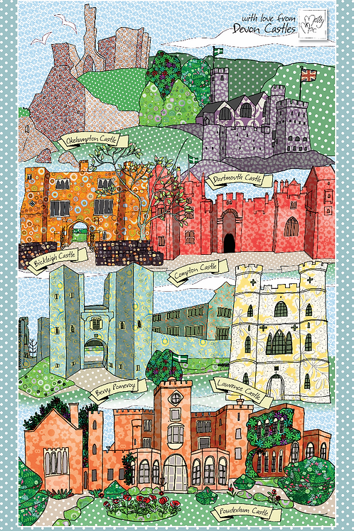 Devon Castles | Tea towel