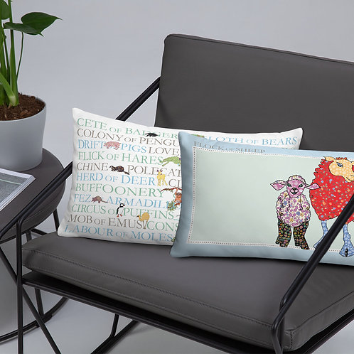 Animal Collective Nouns | Flock of Sheep | Throw Cushion