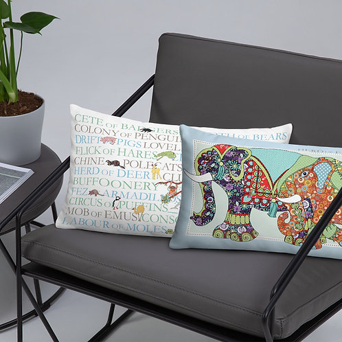 Animal Collective Nouns | Herd of Elephants | Throw Cushion