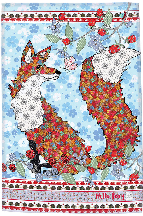 Multicolored fox  design by MollyMac, cotton printed kitchen towel with slogan 'Hello Foxy'