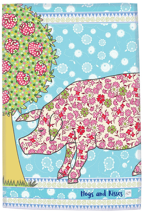 Pig tea towel, illustration of pig and apple tree - kitchen towel with slogan 'Hogs and kisses' gift