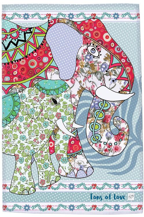 Elephant kitchen towel, MollyMac Tons of Love, Elephant Tea Towel