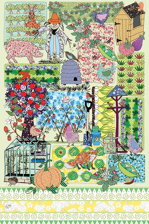 Farm or allotment  design by MollyMac, cotton printed kitchen towel - multi coloured