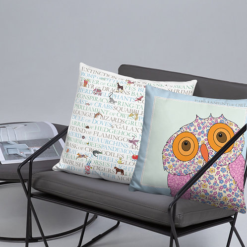 Animal Collective Nouns | Parliament of Owls | Throw Cushion | 18""