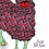 Sheep design by MollyMac, cotton printed kitchen towel - red rosy fabric sheep with slogan 'Just for Ewe'
