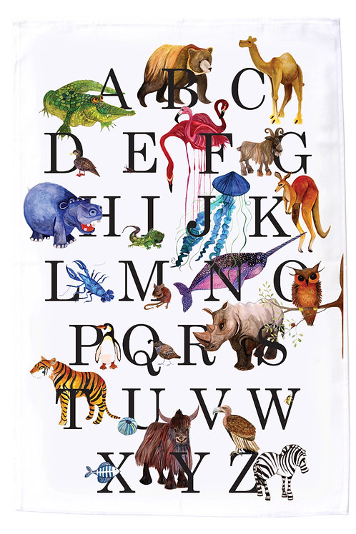 Animal Alphabet MollyMac Tea Towel product Animals painted in water colour style using bright colours