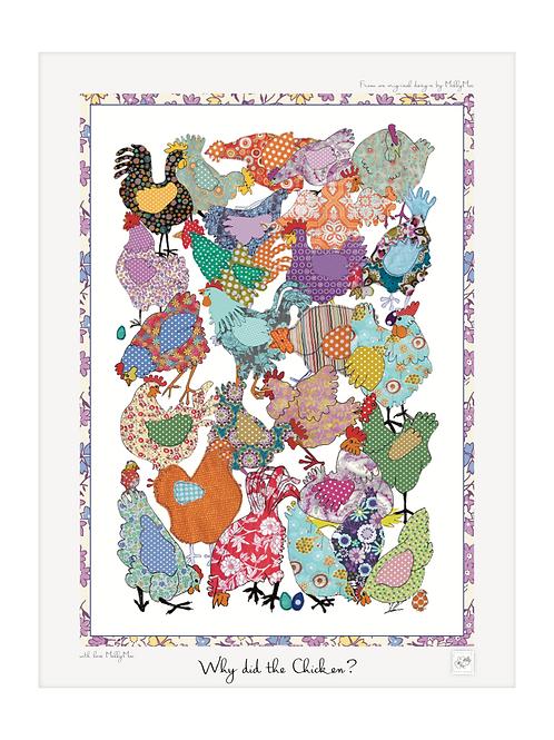 Chicken art print with border