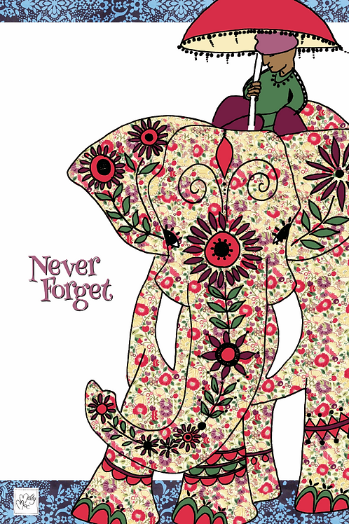 Elephant tea towel with slogan 'Never forget'