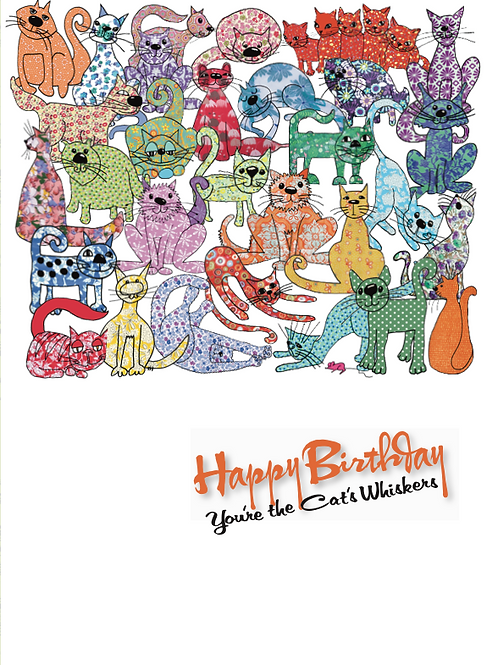 Happy Birthday you're the Cat's Whiskers | Card