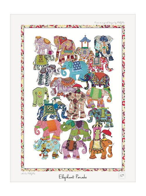 Elephant Art print with thin border