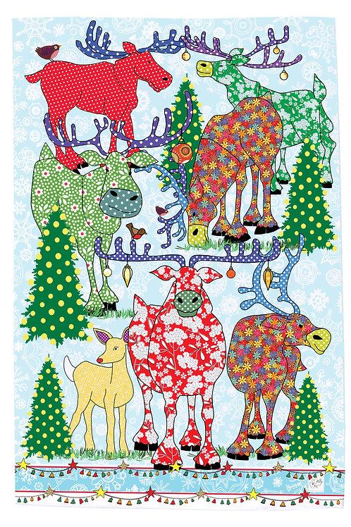Sleigh Bells Ring Reindeer  | Tea towel