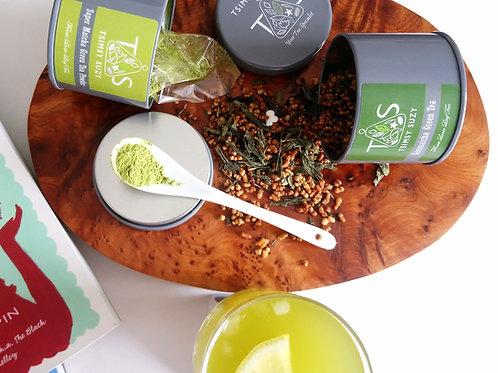 Japanese Matcha Powder and Genmaicha Tea Set