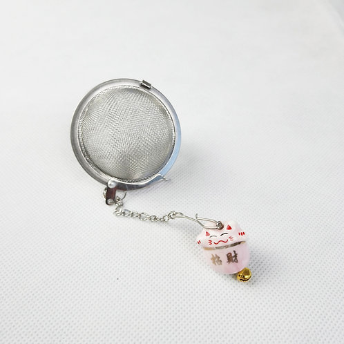 Porcelain Japanese Money Cat with Tea Strainer