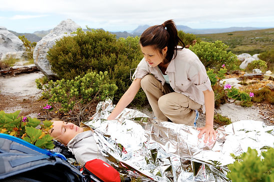Medical emergency while hiking. woman ha