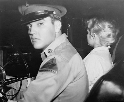 September 18, 1958. Pvt. Elvis Presley, accompanied by his girlfriend Anita Wood, prepared to drive from his home in Killeen, Texas to join his Army outfit at Ft. Hood, Texas late Thursday night.