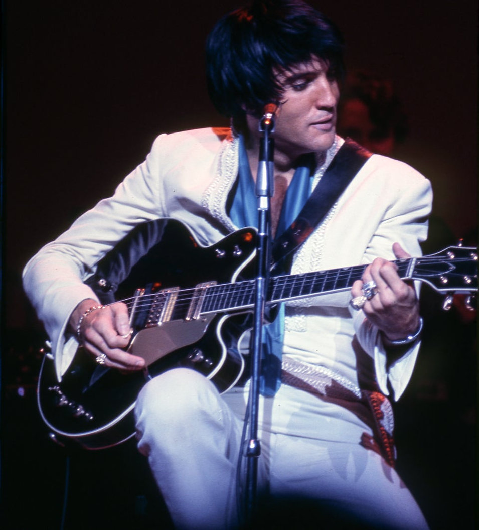 """Elvis performs """"Suspicious Minds"""" live in Las Vegas in July 1969 before the song's officia"""