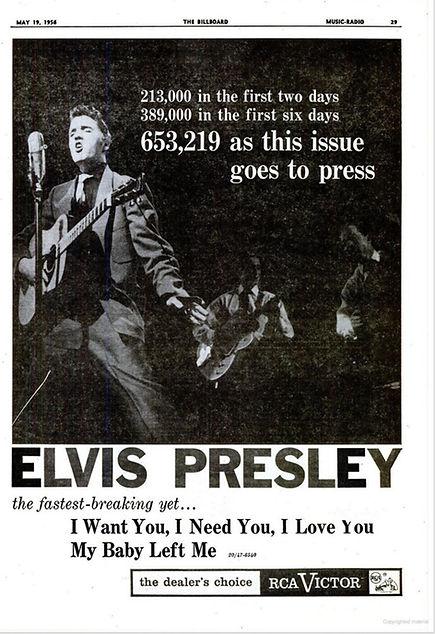 Billboard May 19, 1956. I Want You I Nee