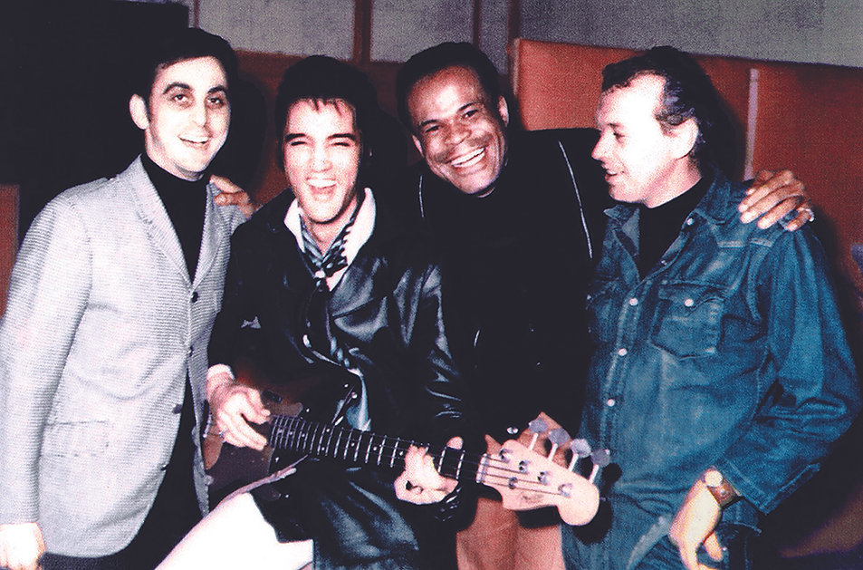 January 1969 at American Sound Studio George Klein, Elvis Presley, Roy Hamilton and Chips