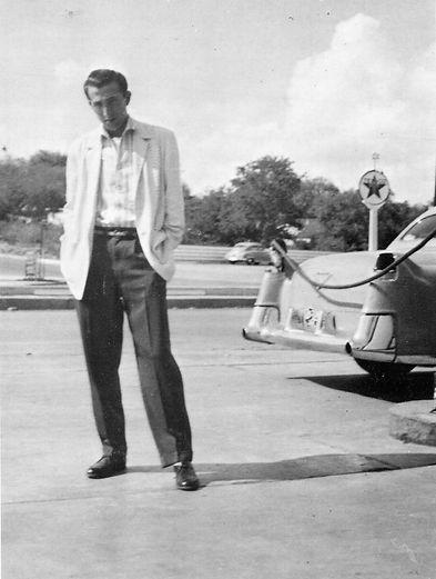 D.J. Fontana October 1956. Posing at a f