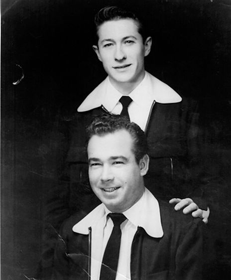 Promotional photo - Scotty and Bill - The Starlite Wranglers SUN 1954. By Febr. 2, 1955 Scotty and Bill have by now stopped wearing the cowboy-styled outfits that are a carryover from their Starlite Wrangler days.