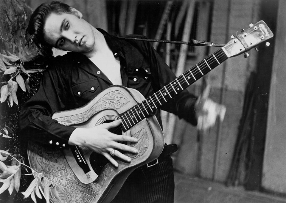 Elvis backstage at the Hudson Theater in New York City on Sunday, July 1st, 1956. He was in rehearsal for the live NBC-TV broadcast that evening of The Steve Allen Show.