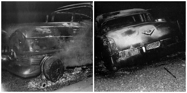 Presley's first Cadillac destroyed by fire on Highway 67, near Fulton, AR. on June 7, 1955