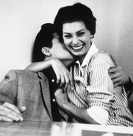Elvis and Italian beauty Sophia Loren at Paramount's commissary late January 1958. Photo by Bob Willoughby