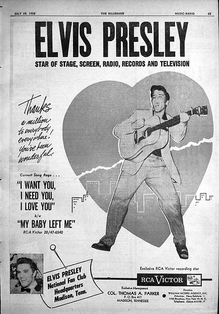 Billboard ad Thank You - from Elvis and the Colonel. July 28, 1956.