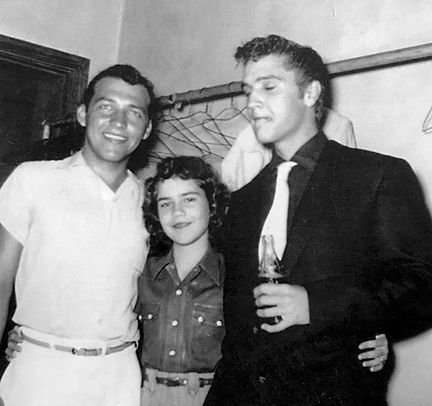 Elvis with singers Dean Beard and Fonda Wallace at the American Legion Hall in Breckenridge Texas on June 10, 1955.