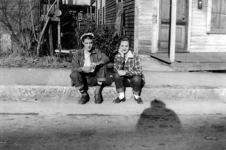Elvis - age 15 - and friend Betty McMahan, across the street from Lauderdale Courts. The family lived in the project from 1949 to 1953