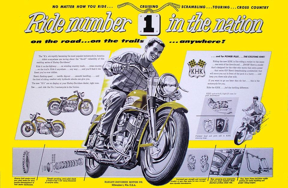 1956 Harley-Davidson KH ad.