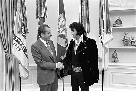 President Richard Nixon Meets with Elvis on December 21, 1970 at the oval office in washington, DC.