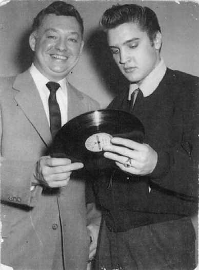 Elvis is seen with DJ Don Larkin January 1956 photographed during Dorsey rehearsals