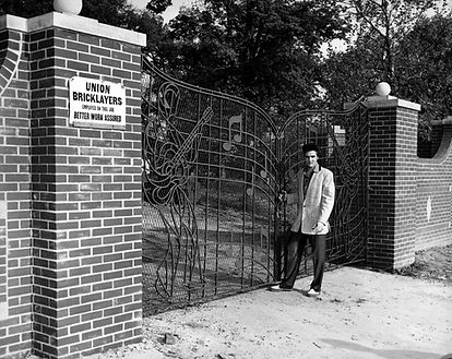 Graceland April 22, 1957. Newly installed wrought iron gates.