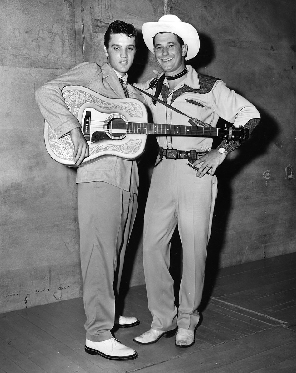 Overton Shell Park. Elvis with Texas Bill Strength, August 5, 1955..jpg