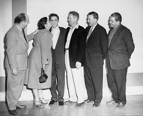 Col. Parker, Gladys, Elvis, Vernon, attorney Coleman Tily and Bob Neal at SUN recording co