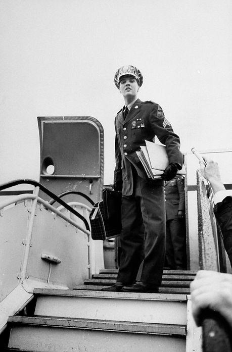 Frankfurt, West Germany, March, 1960: Sgt. Elvis Presley — leaves Rhein Main airport bound for USA