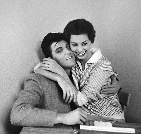 Elvis and Italian beauty Sophia Loren at Paramount's commissary late January 1958. By Bob Willoughby