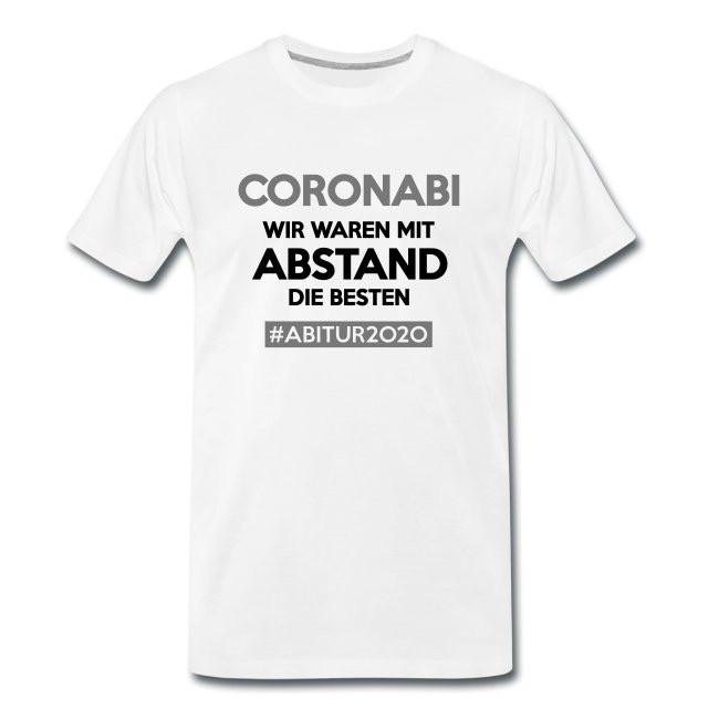 Im Shirtdesigner kannst Du das Motivdesign und Shirtfarbe bzw. Produkt an deine Ansprüche anpassen und gestalten. CORONABI - AbiShirt 2020