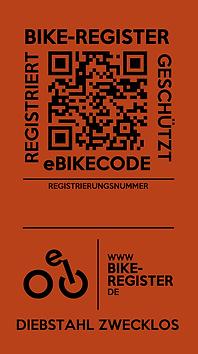 Der QR-Code des eBIKECODE-Stickers für auf eine spezielle Landingpage, die sich im Smartphone aufbaut.