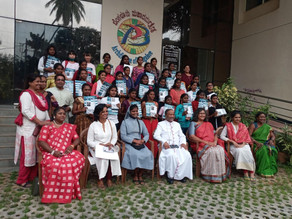 Bengaluru Archdiocese Women's Commission Organizes distribution of Tabs to Poor Girl Students