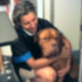 mastiff, dog, girl, woman, woman and dog, girl and dog, groomer, pet groomer, dog groomer, girl hugging dog, woman hugging dog